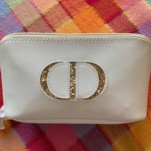 DIOR White and Gold Cosmetic Bag